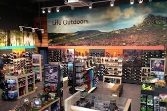 Large blown up photos used in store to help rebrand Blacks Outdoors
