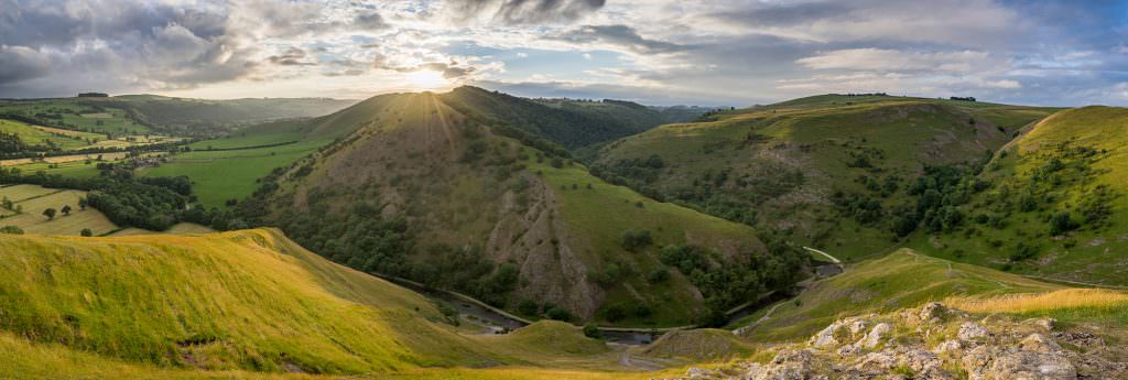 Thorpe Cloud Sunset Panoramic - Peak District Photography