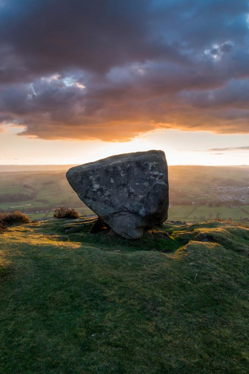 Anvil Stone Sunset - Baslow Edge - Peak District Photography