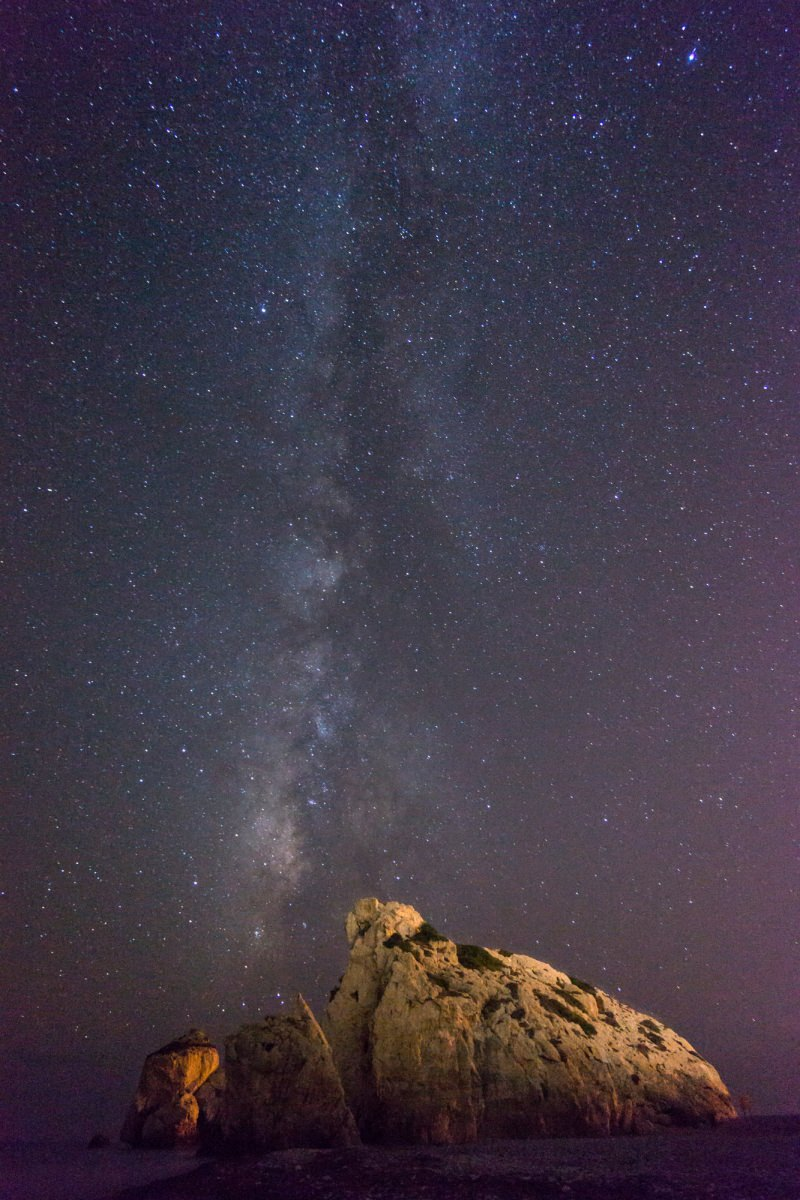 Aphrodites Rock Milky Way Portrait - Cyprus Photography