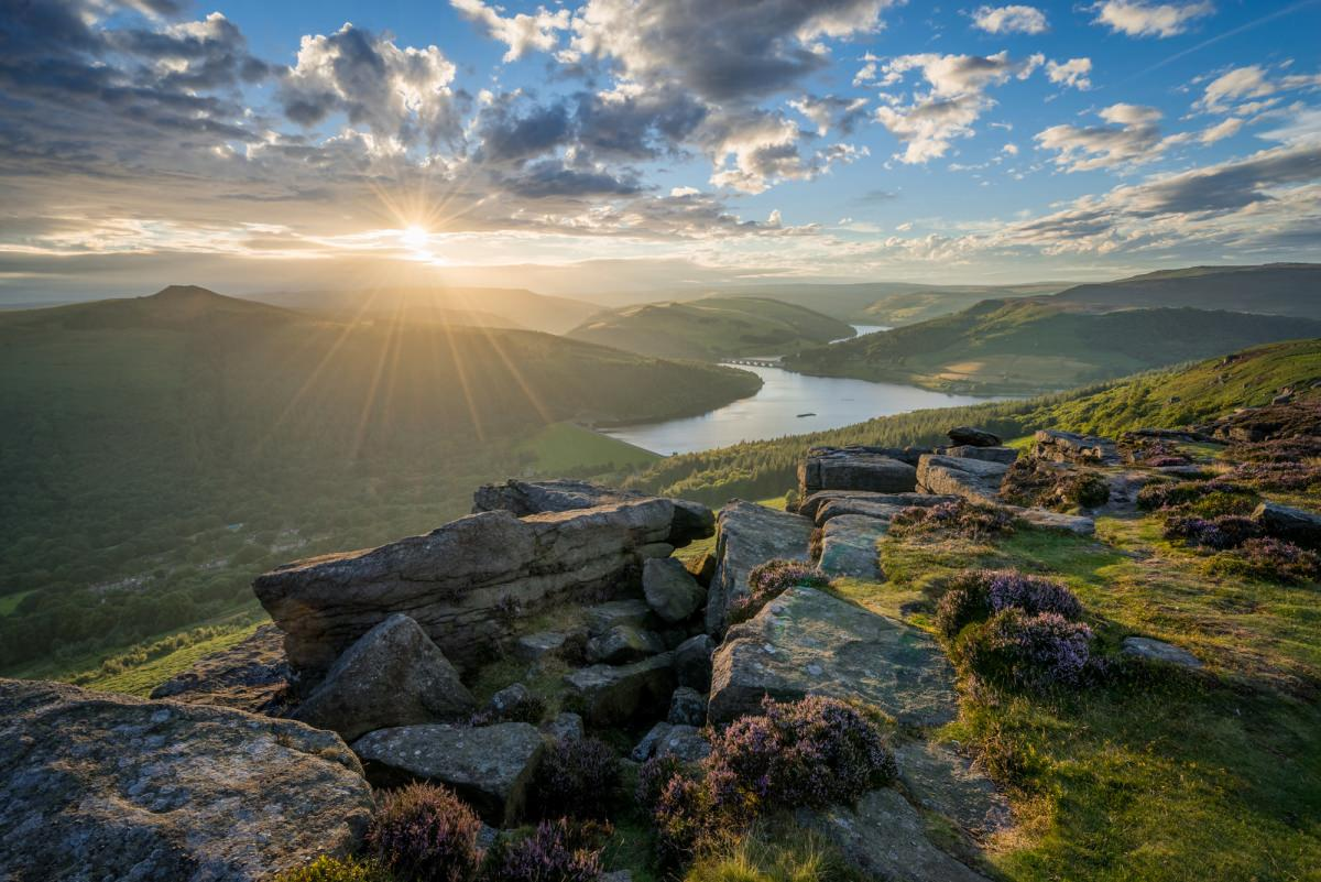 Bamford Edge Heather Sunset - Peak District Photography