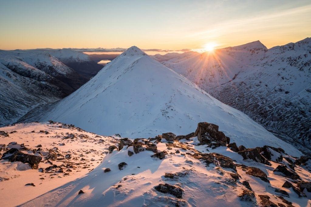 Buachaille Etive Beag Winter Sunset - Stob Coire Raineach