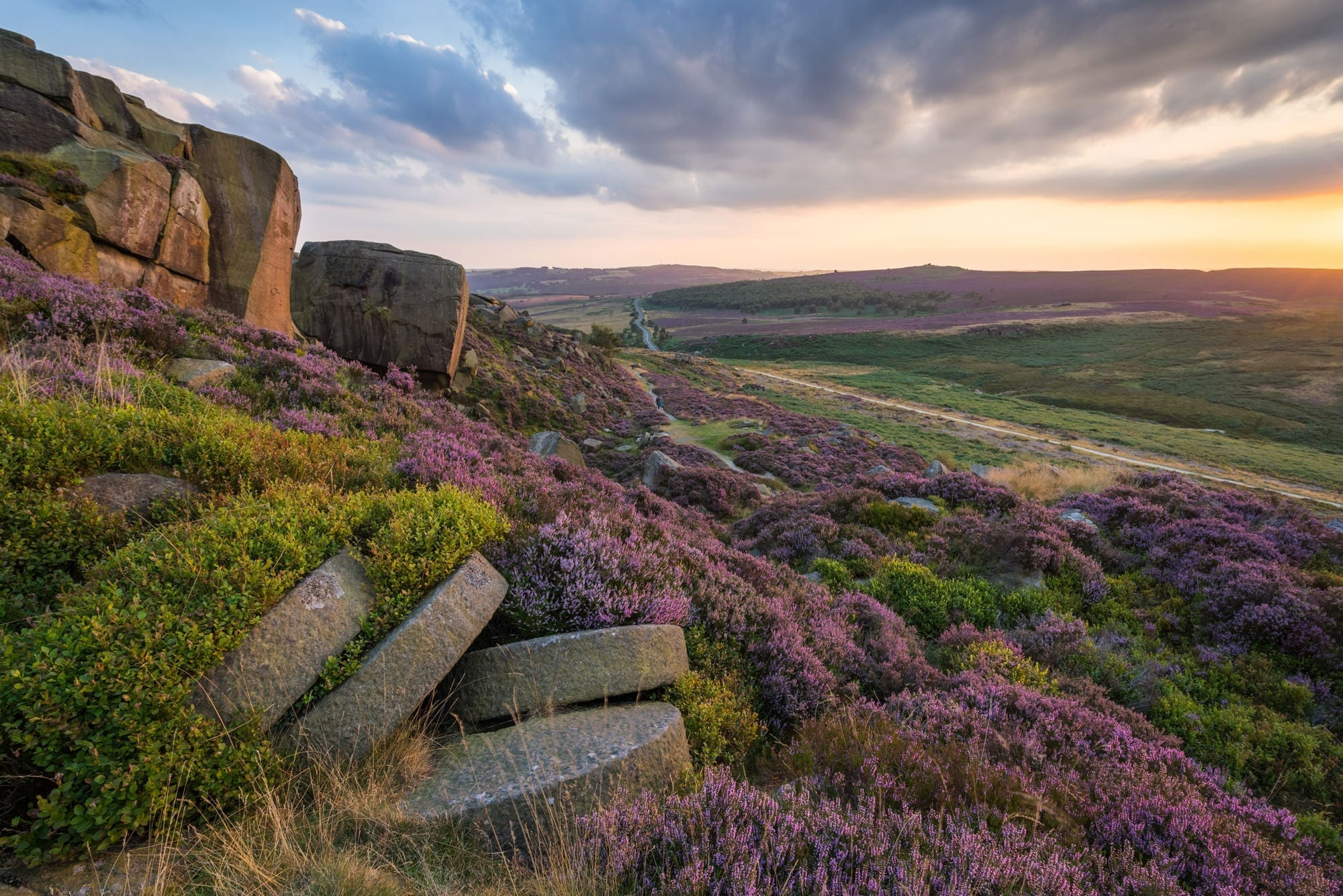 Burbage Rocks Heather Sunset - Heather in the Peak District Photography Workshop
