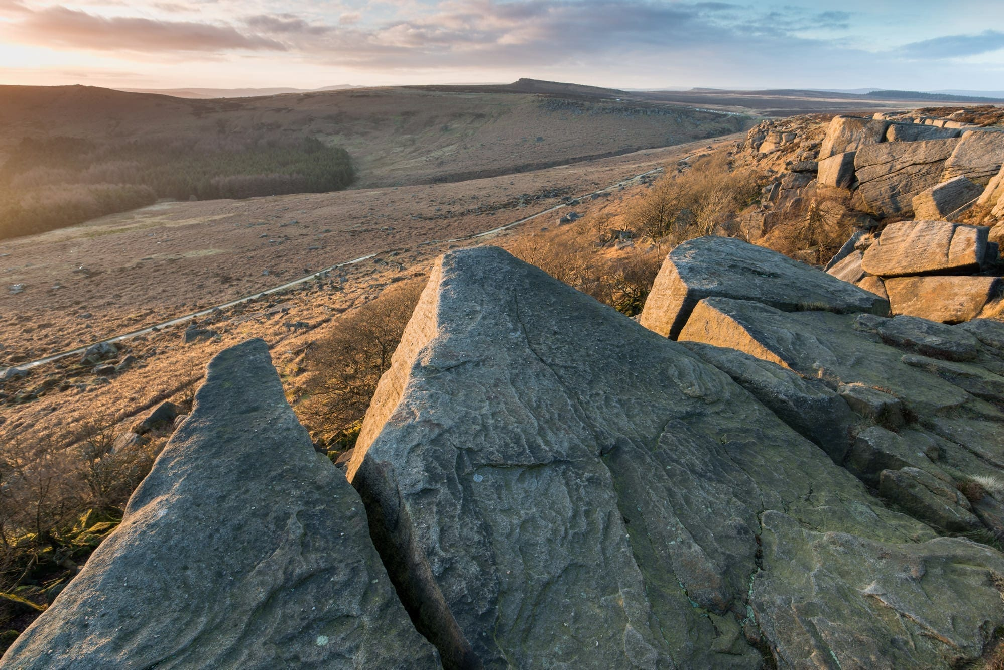 Burbage Rocks Sunset - Photographing the Peak District in Winter Photography Workshop