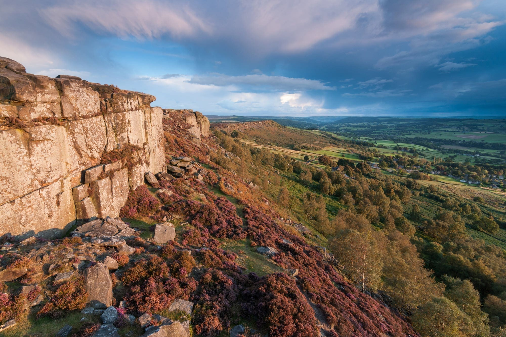 Curbar Edge Stormy Skies - Gritstone Edges Peak District Photography Workshop