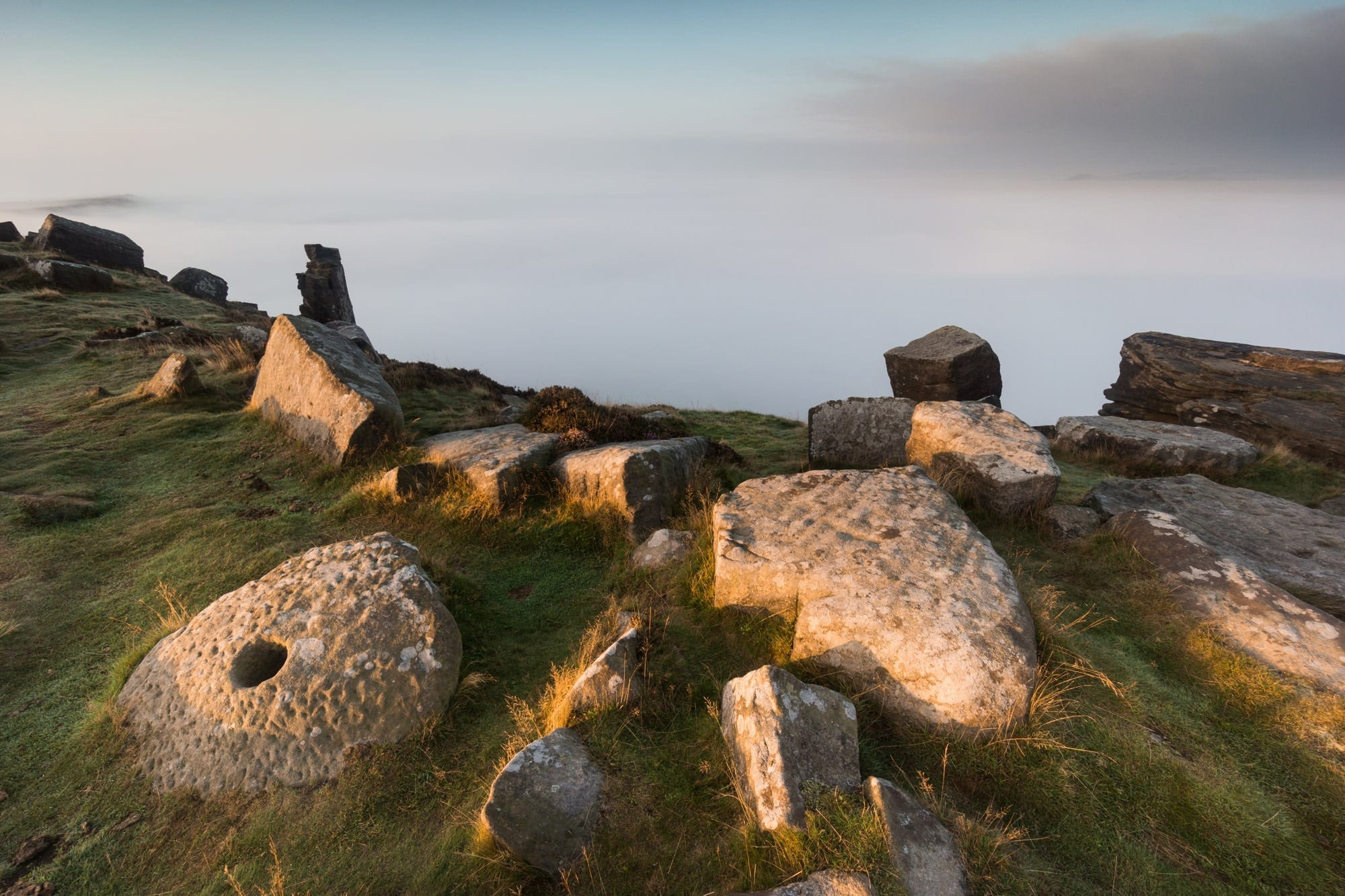 Curbar Edge Millstones and Mist - Gritstone Edges Peak District Photography Workshop