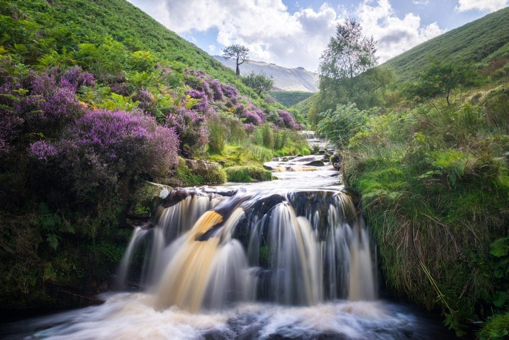 Fair Brook Waterfall surrounded by heather