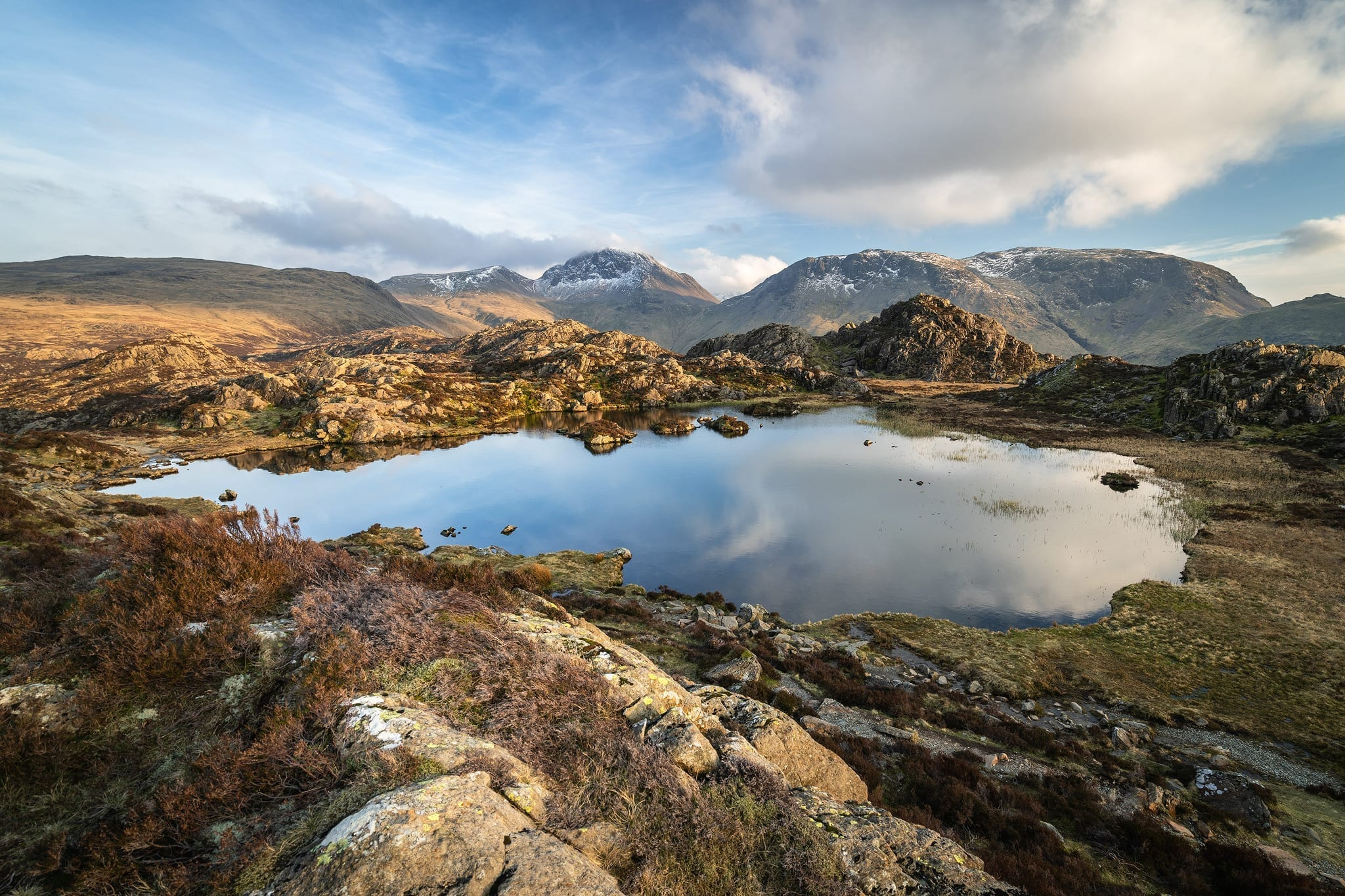 Innominate Tarn Sunset  Wide View - Lake District Wild Camping Photography Workshop