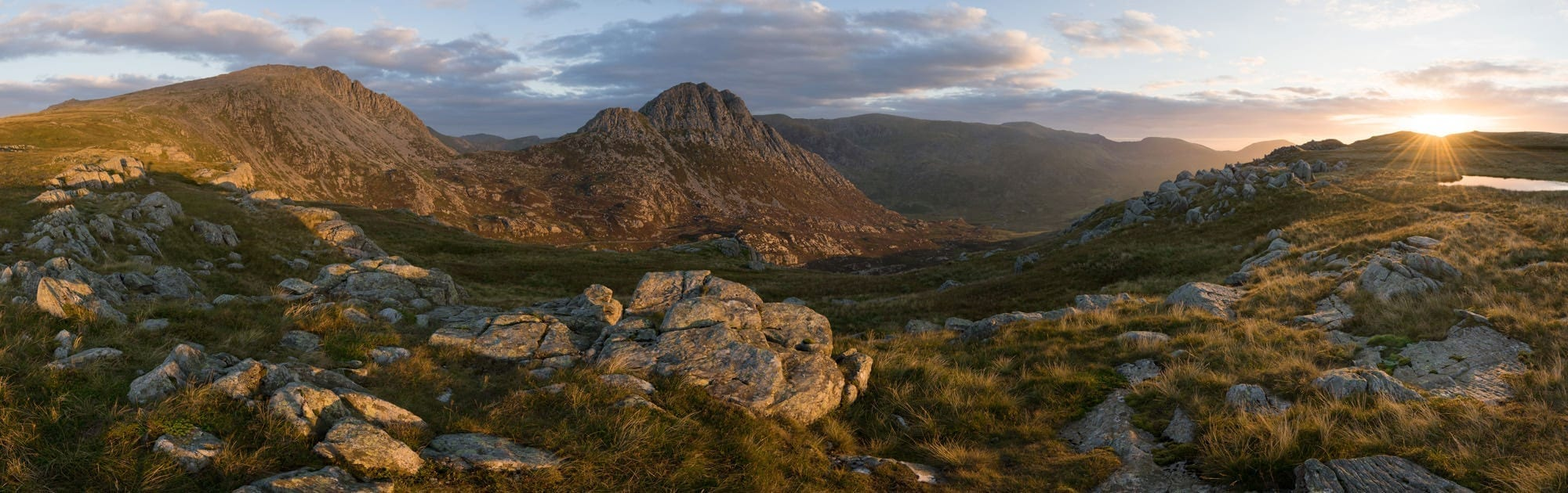 Llyn Y Caseg Fraith Sunrise Panoramic - Snowdonia Wild Camping Photography Workshop