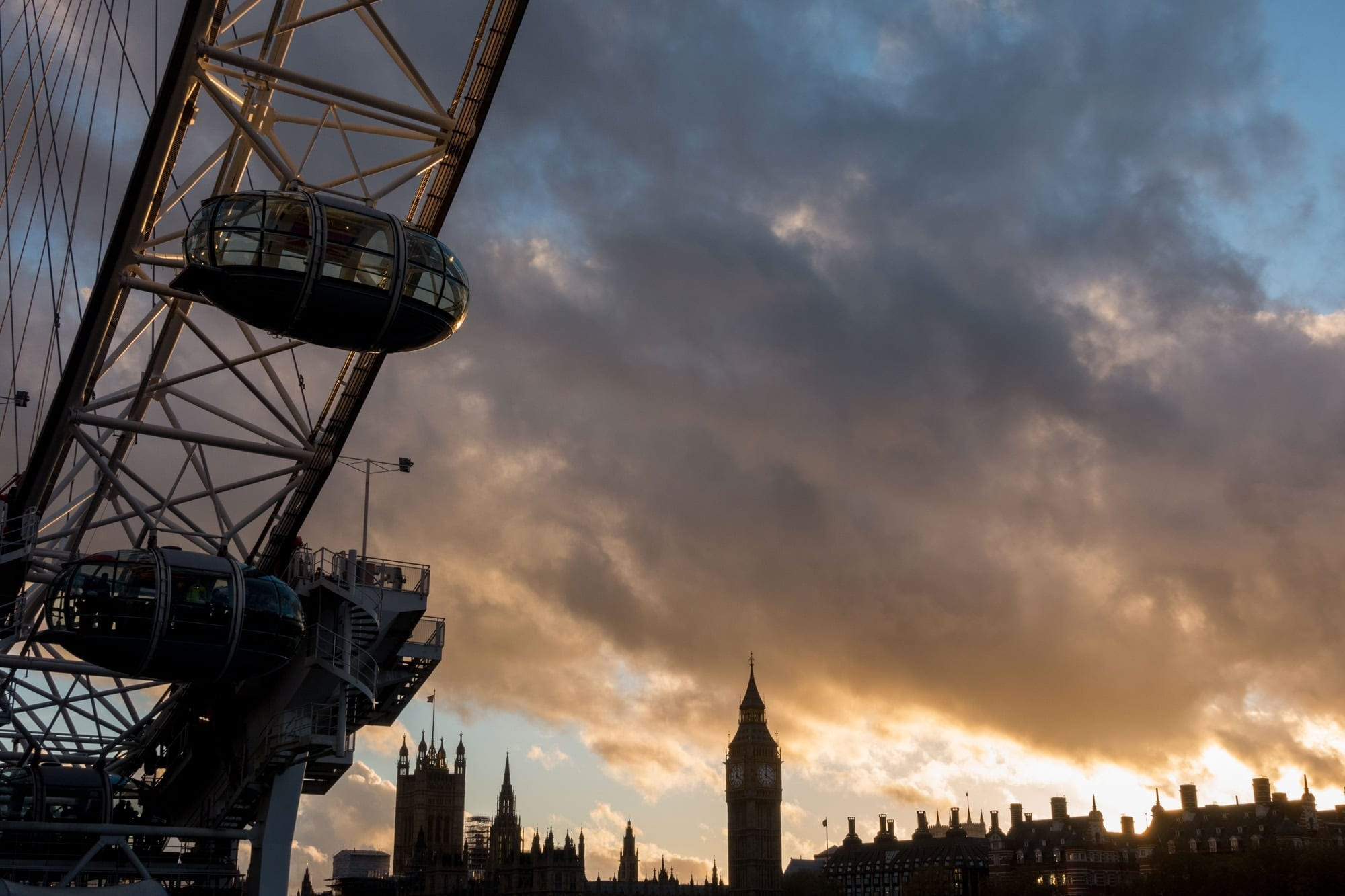 London Eye and Big Ben Sunset - London Photography