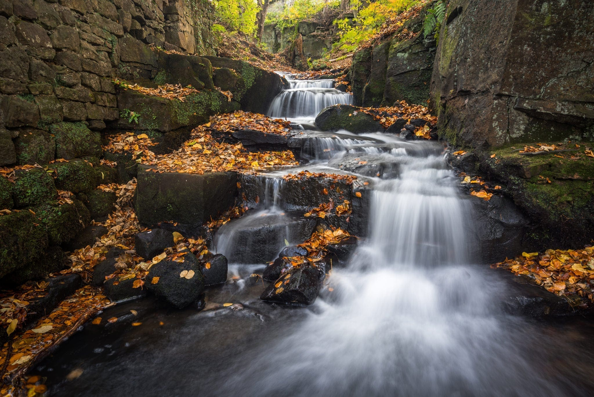 Lumsdale Cascade Autumn - Peak District Photography