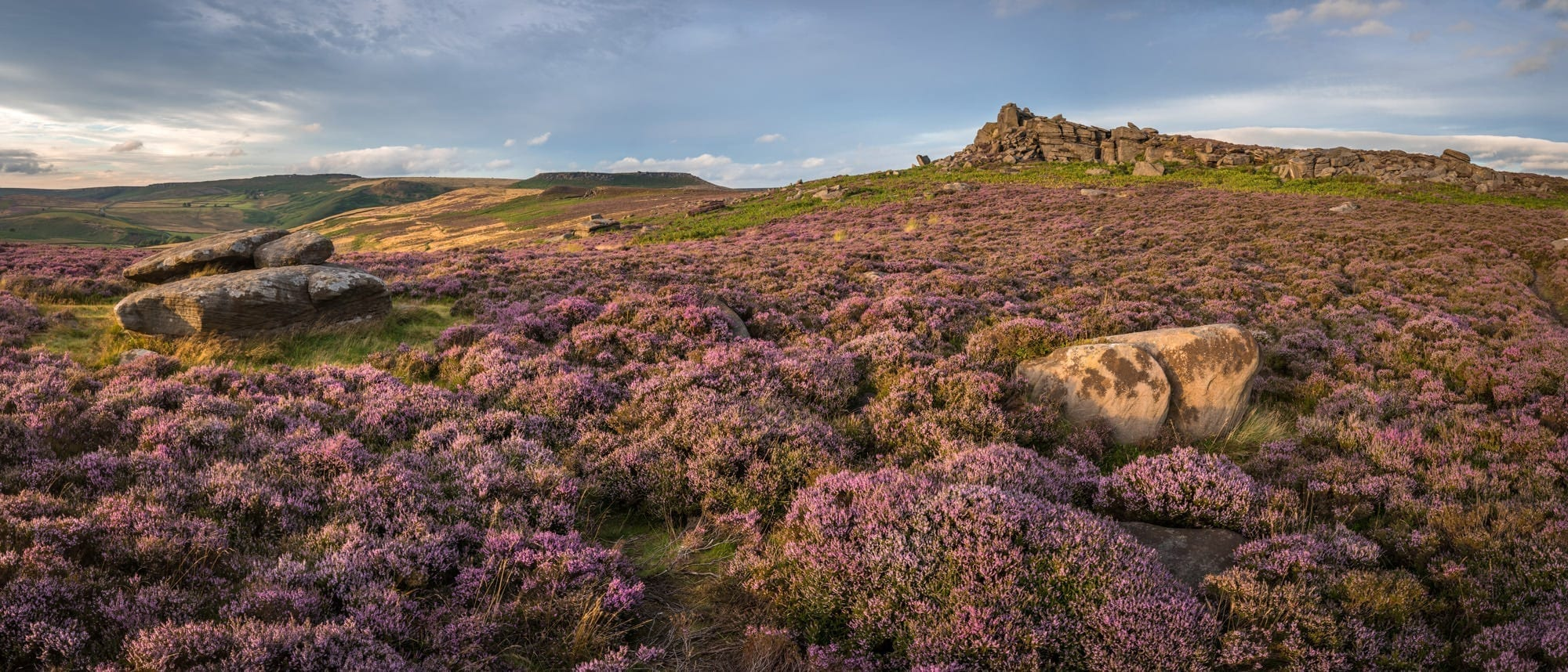 Over Owler Tor Panoramic Sunset - Heather in the Peak District Photography Workshop