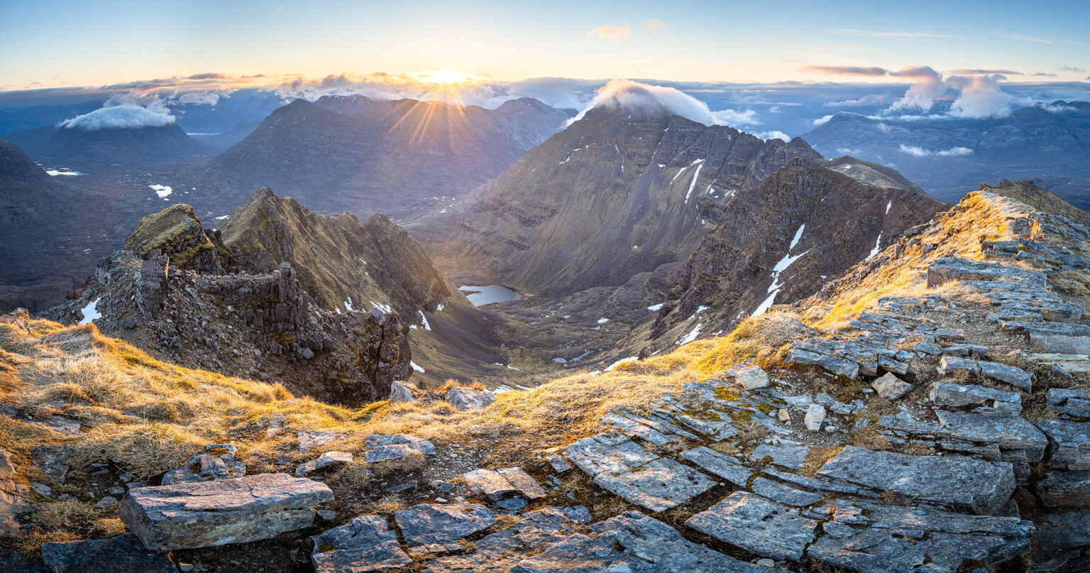 Mullach an Raithan Sunrise Panoramic – Liathach – Scotland Photography