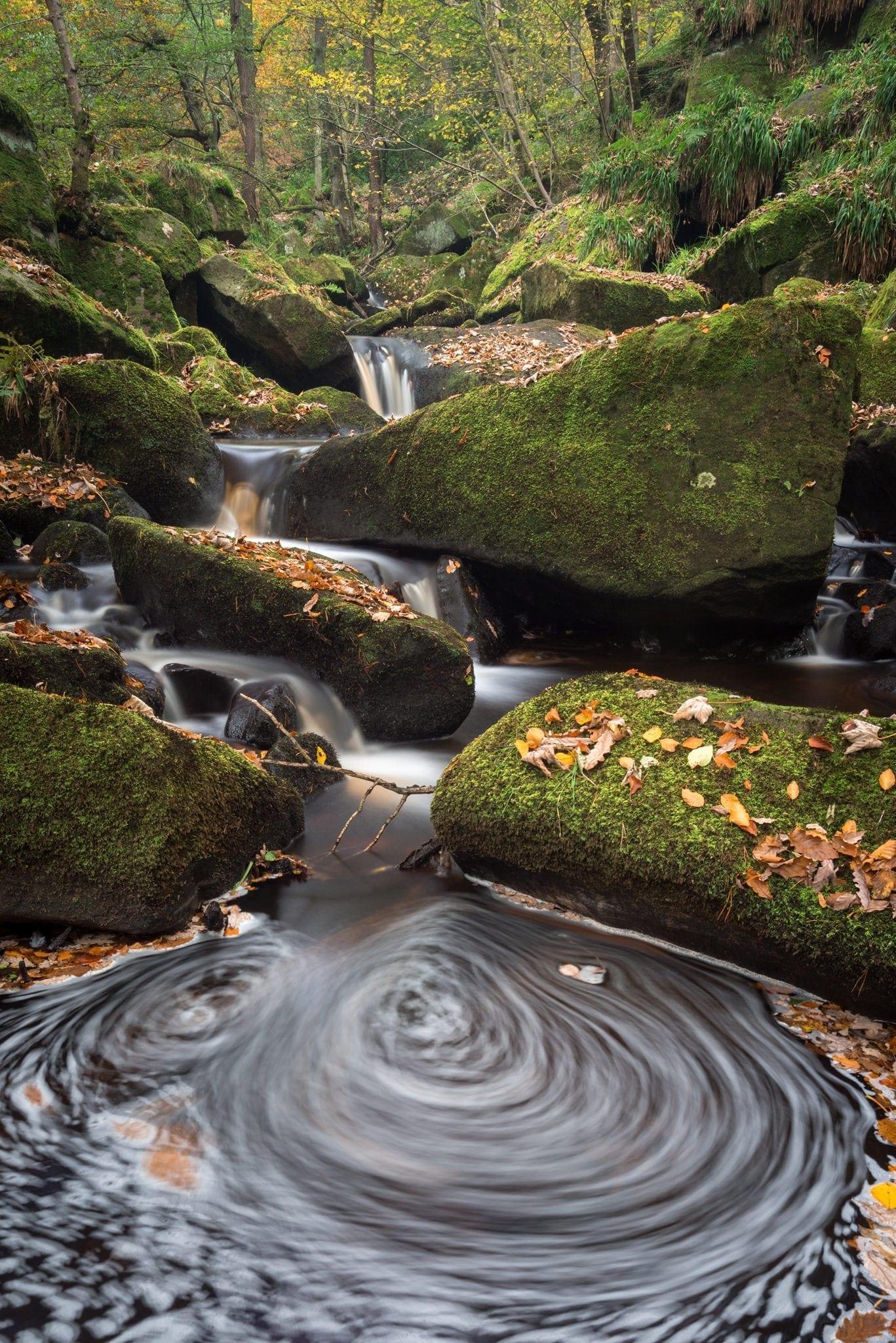Padley Gorge Autumn Whirlpool - Peak District Photography