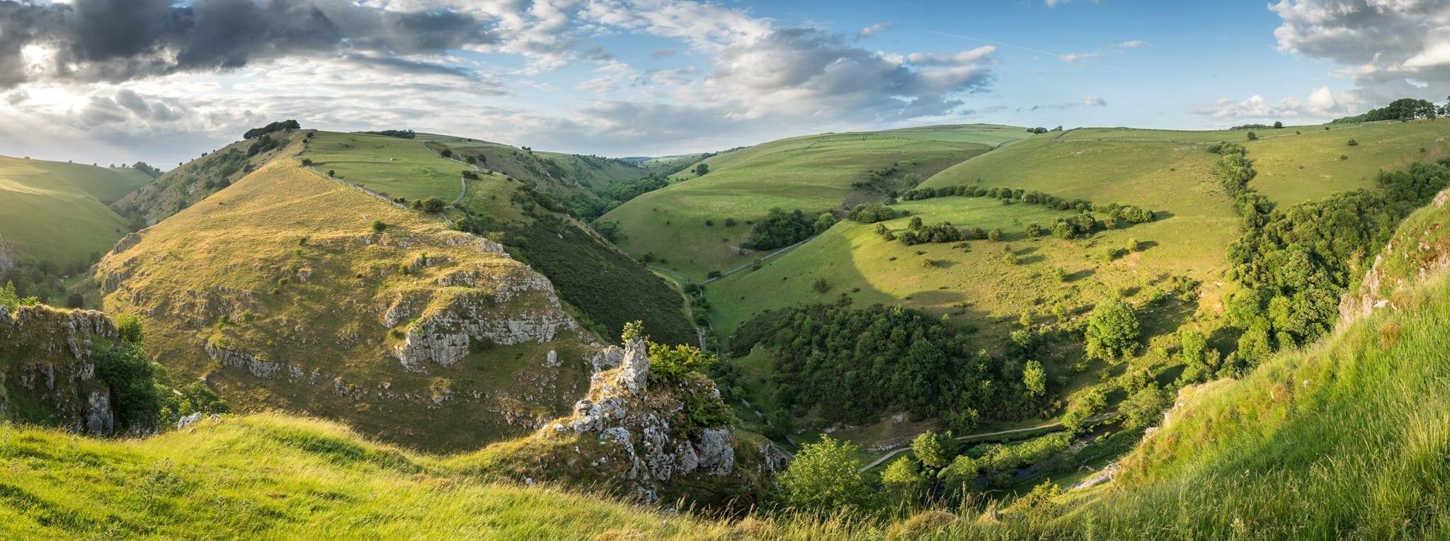 Peaseland Rocks Panoramic Susnet - Peak District Photography
