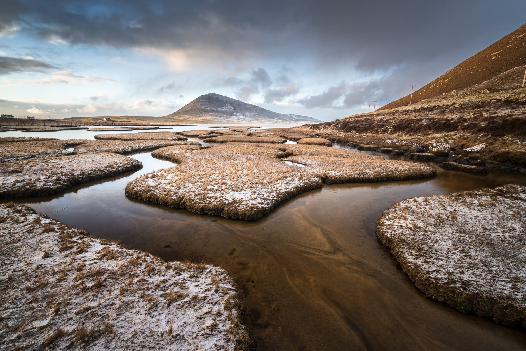 Scarista Salt Flats Snowy Sunset -Isle of Harris Photography