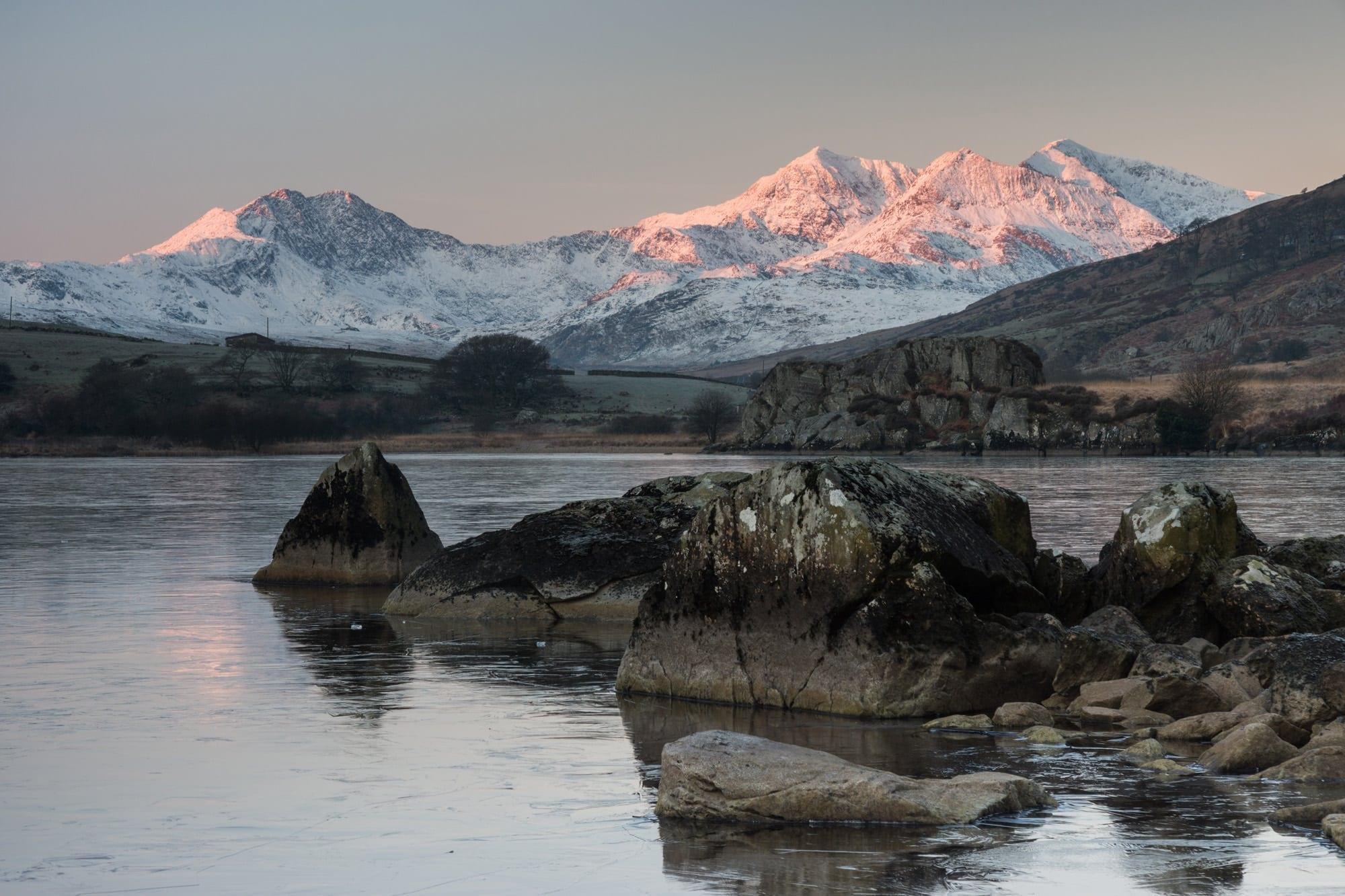 Snowdon Horseshoe Sunrise from Llynnau Mymbyr - Snowdonia Photography