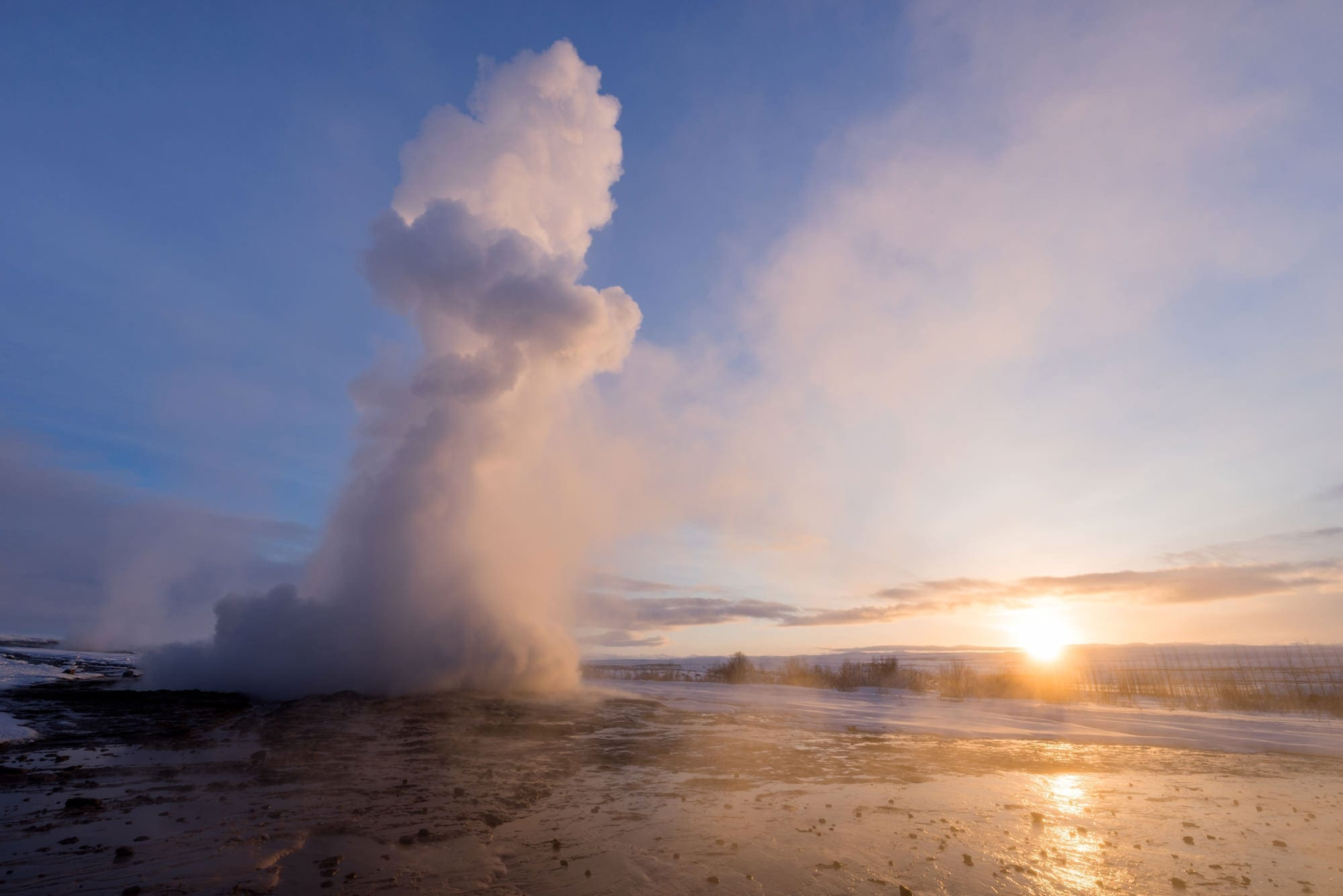 Strokkur Sunrise - Iceland Photography
