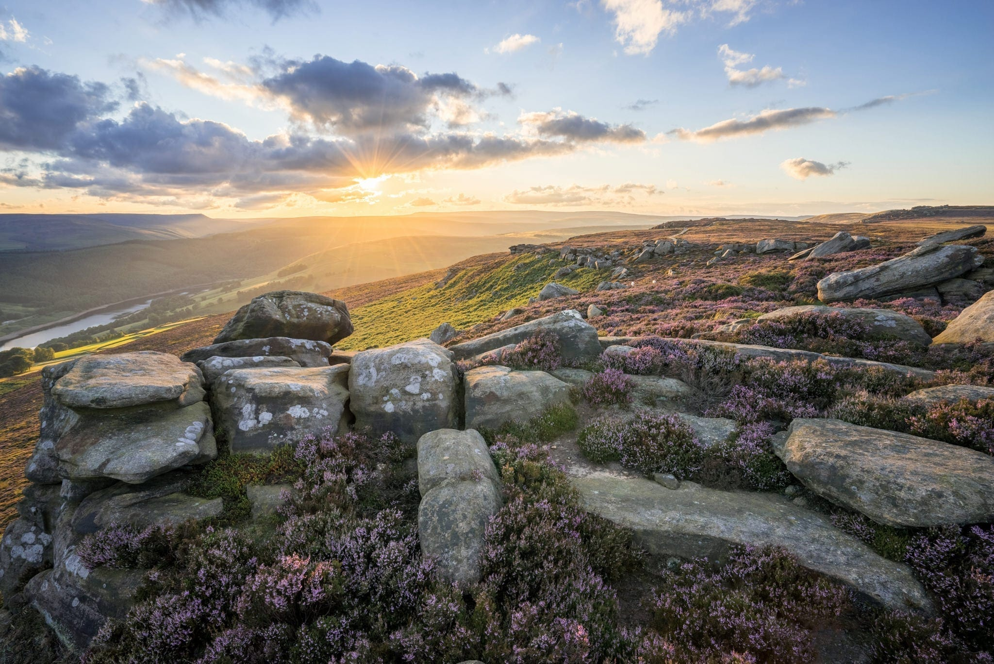 White Tor Sunset - Heather in the Peak District Photography Workshop