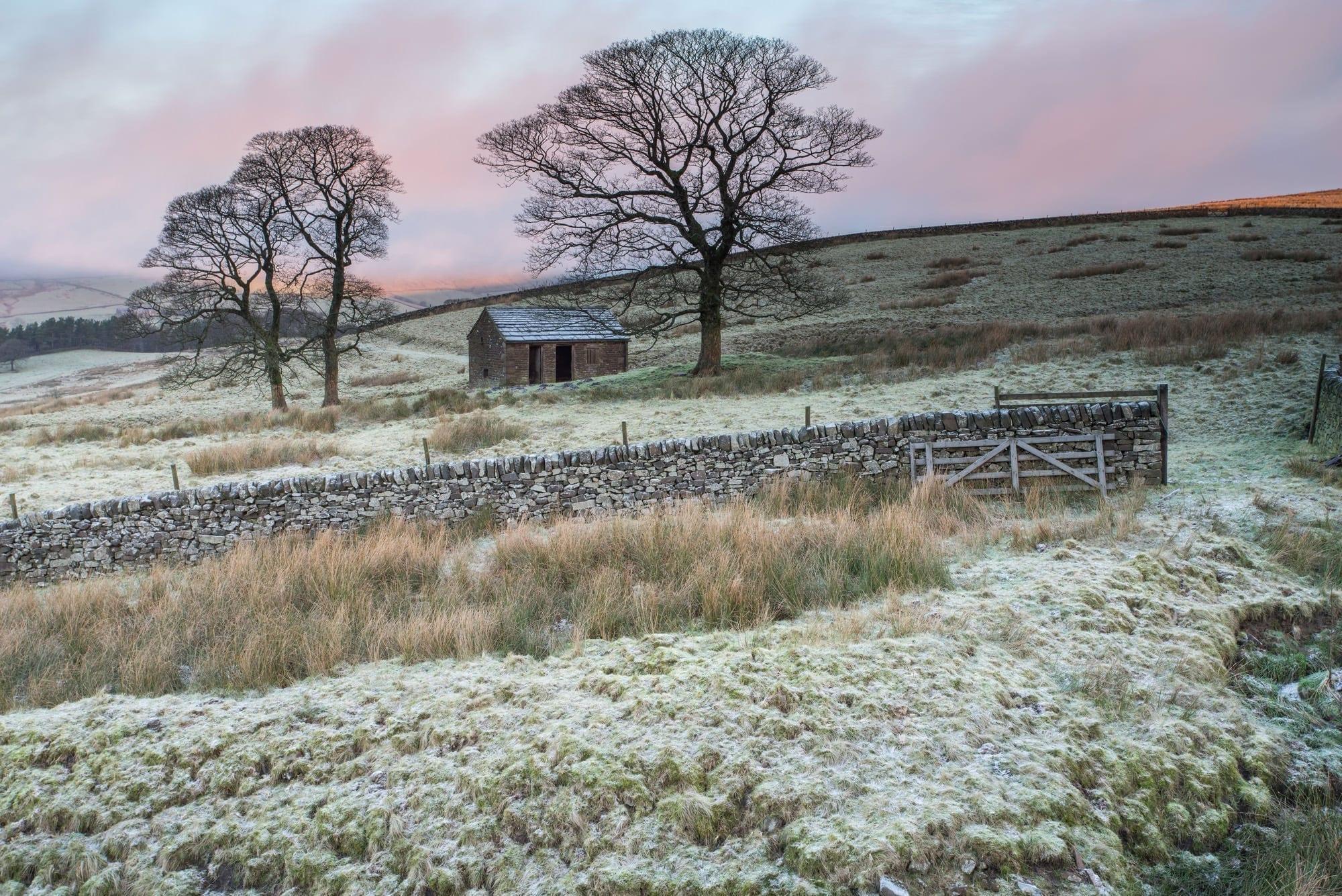 Wildboarclough Barn and Shutlingsloe Sunrise - Peak District Photography