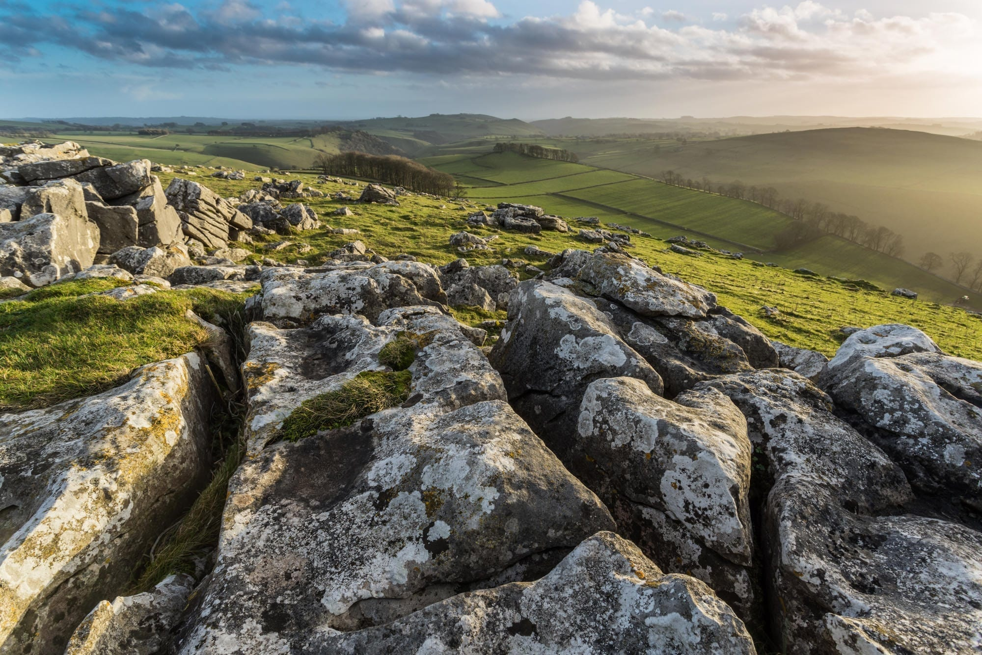 Wolfscote Hill Sunset - South Peak District Limestone Photography Workshop