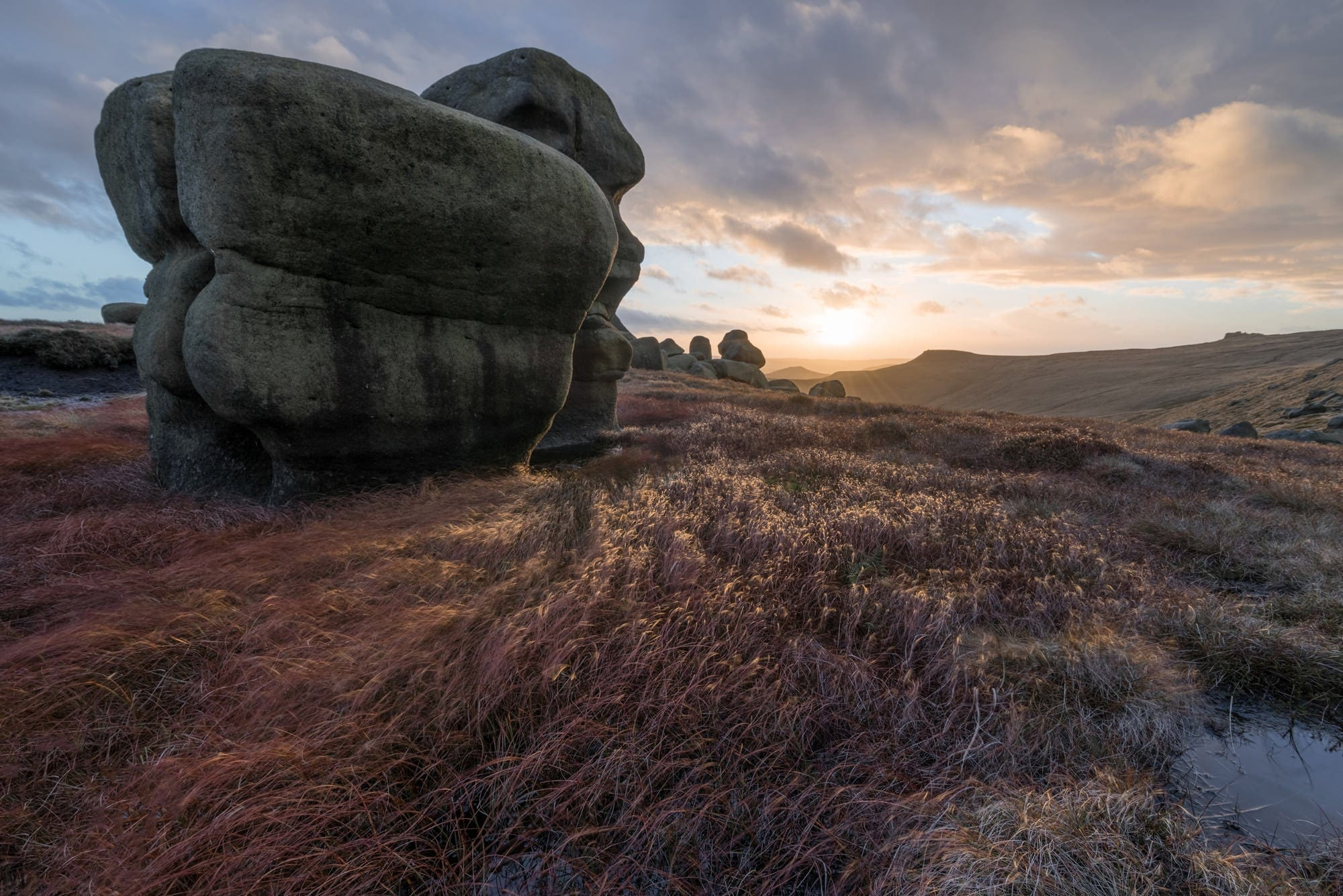 Wool Packs Sunset - Kinder Scout - Peak District Photography