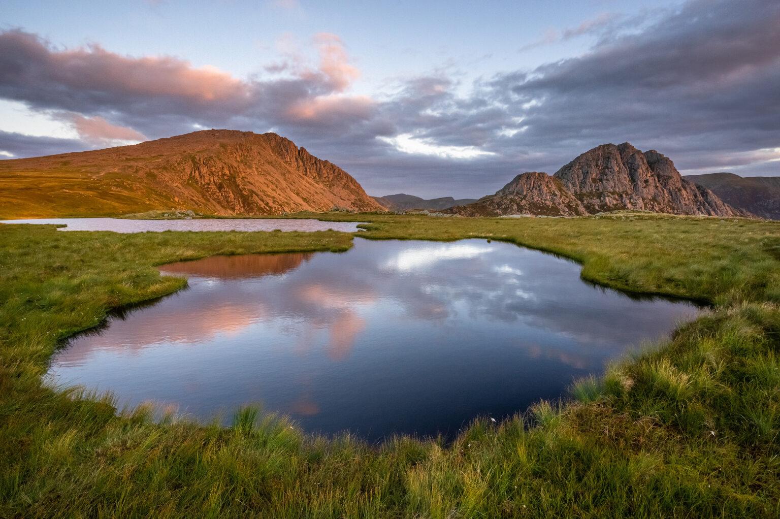 Llyn Y Caseg Fraith Reflections Sunrise - Tryfan and Glyder Fach - Snowdonia Landscape Photography