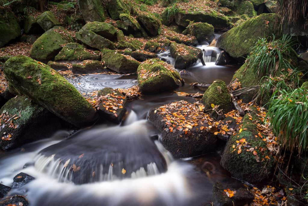 Padley Gorge is an excellent place in Autumn, especially on the duller days. I was teaching another photographer on a 1-2-1 tuition and found this spot along the gorge. We got in quite a precarious place to grab this shot the falls with the Autumn colours but it was well worth it.