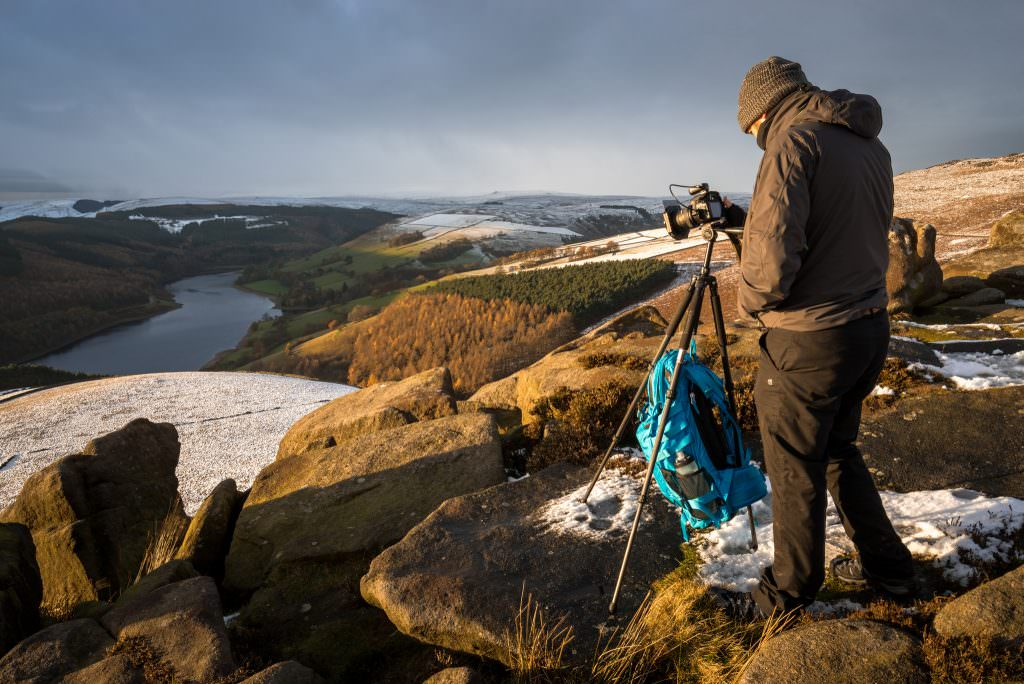 A client enjoying the fabolous and epic conditions during a sunset on Derwent Edge.