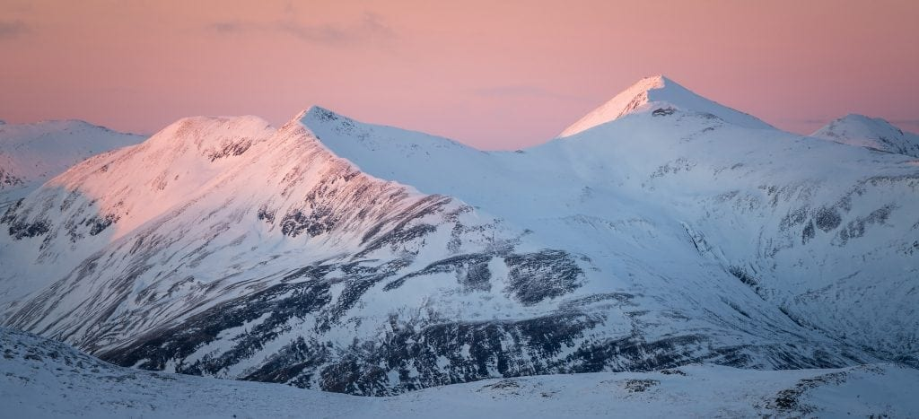 Mamores Winter Sunset - Scotland Photography