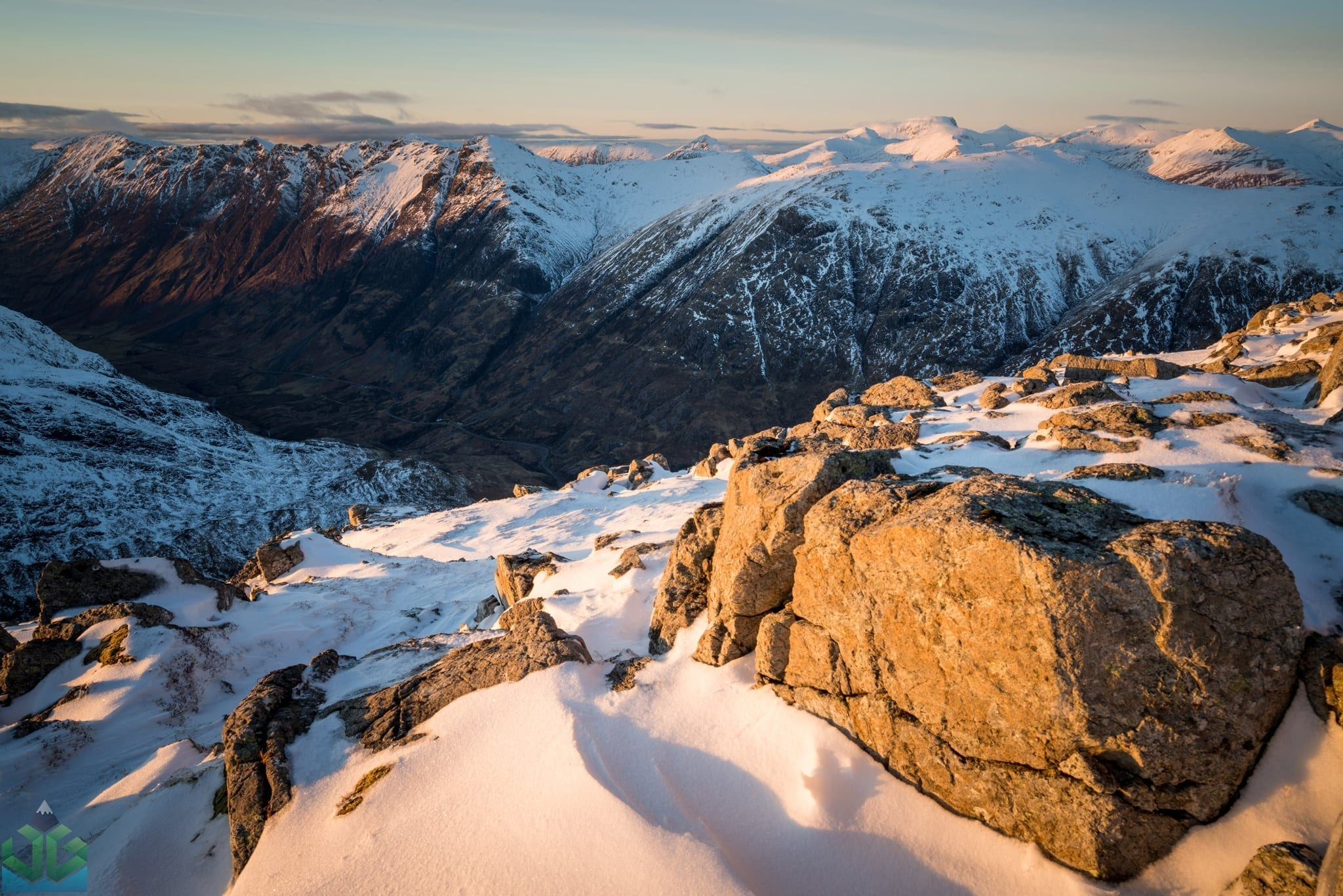 Stob Coire Raineach Winter Sunset looking over towards Aanoch Eagach