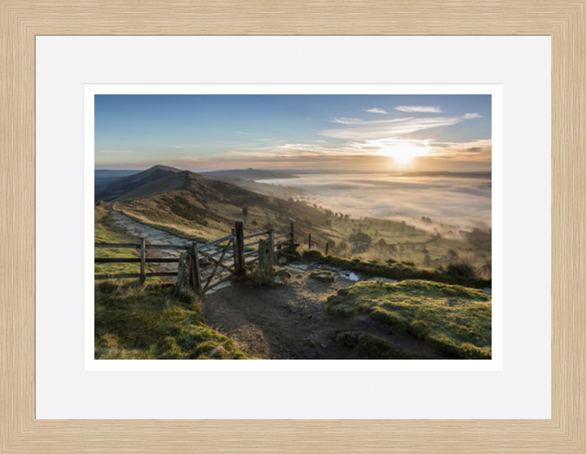 35mm Light Oak Framed Print Peak District