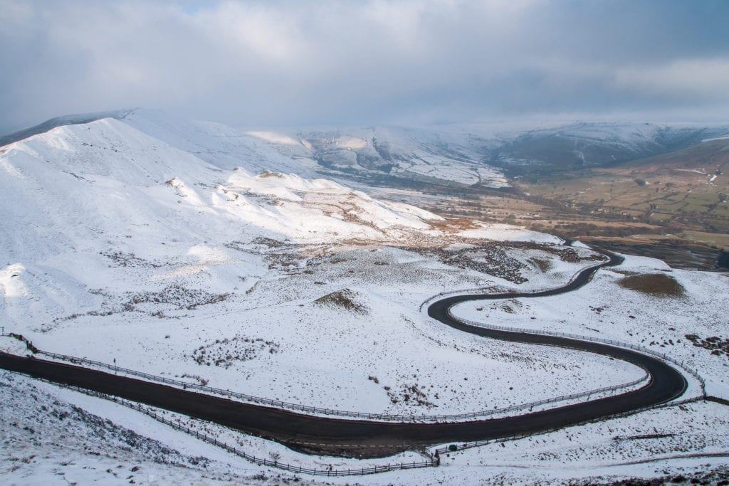 The Road from Mam Nick to Edale in the Winter with Snow from Mam Tor - Mam Tor Photography Location Guide