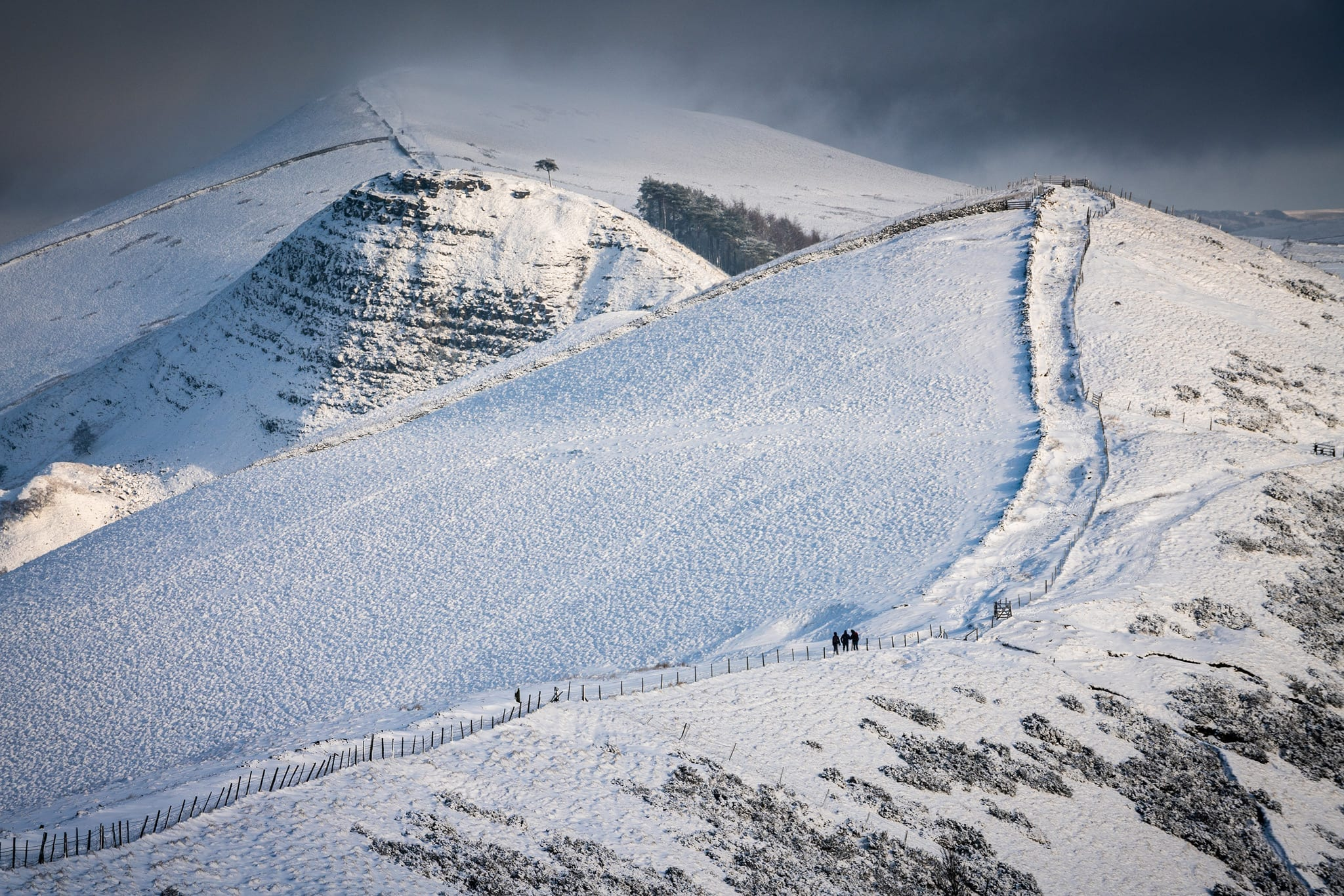 Walkers in winter on the Great Ridge from Mam Tor - Mam Tor Photography Location Guide.jpg