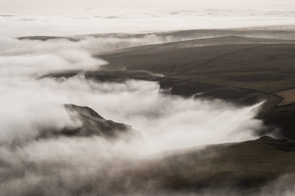 Winnats Pass under a cloud inversion in autumn from Mam Tor - Mam Tor Photography Location Guide