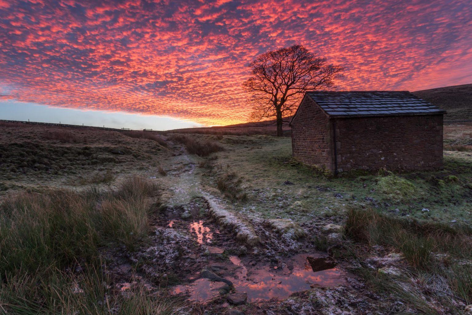 Wildboarclough Barn Fiery Sunrise - Peak District Photography