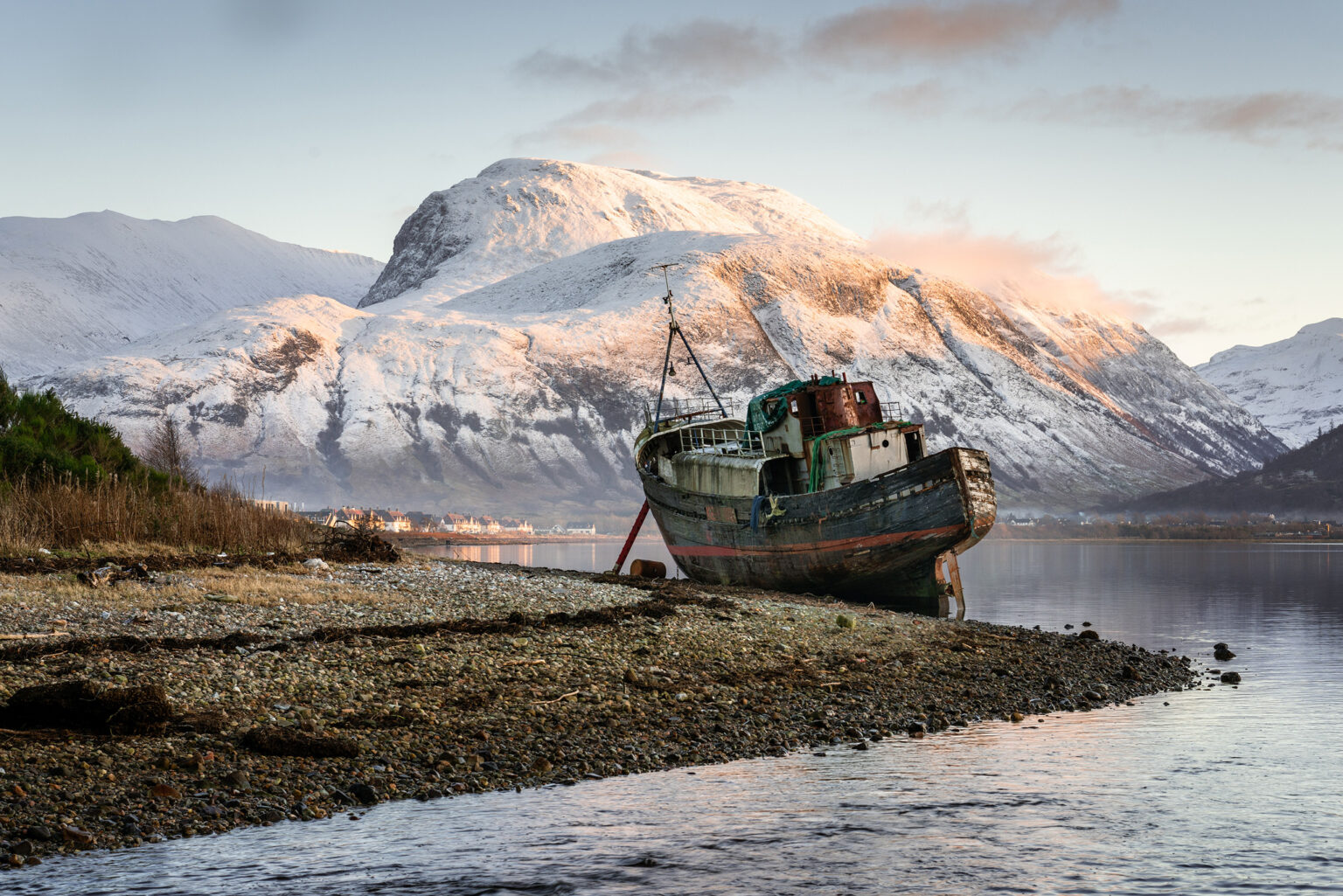 Corpach Boat Sunset with Ben Nevis at Sunset - Scotland Landscape Photography