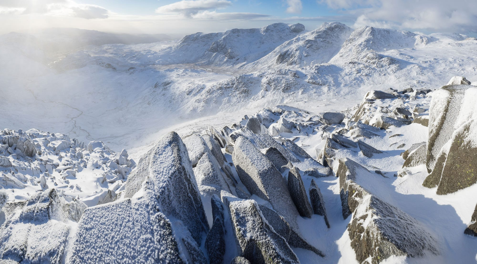 Bowfell to Scafell Pike Winter - Lake District Photography