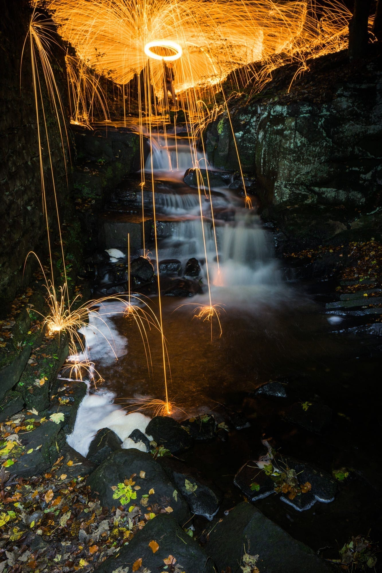 Lumsdale Wire Wool Burning  - Derbyshire Photography