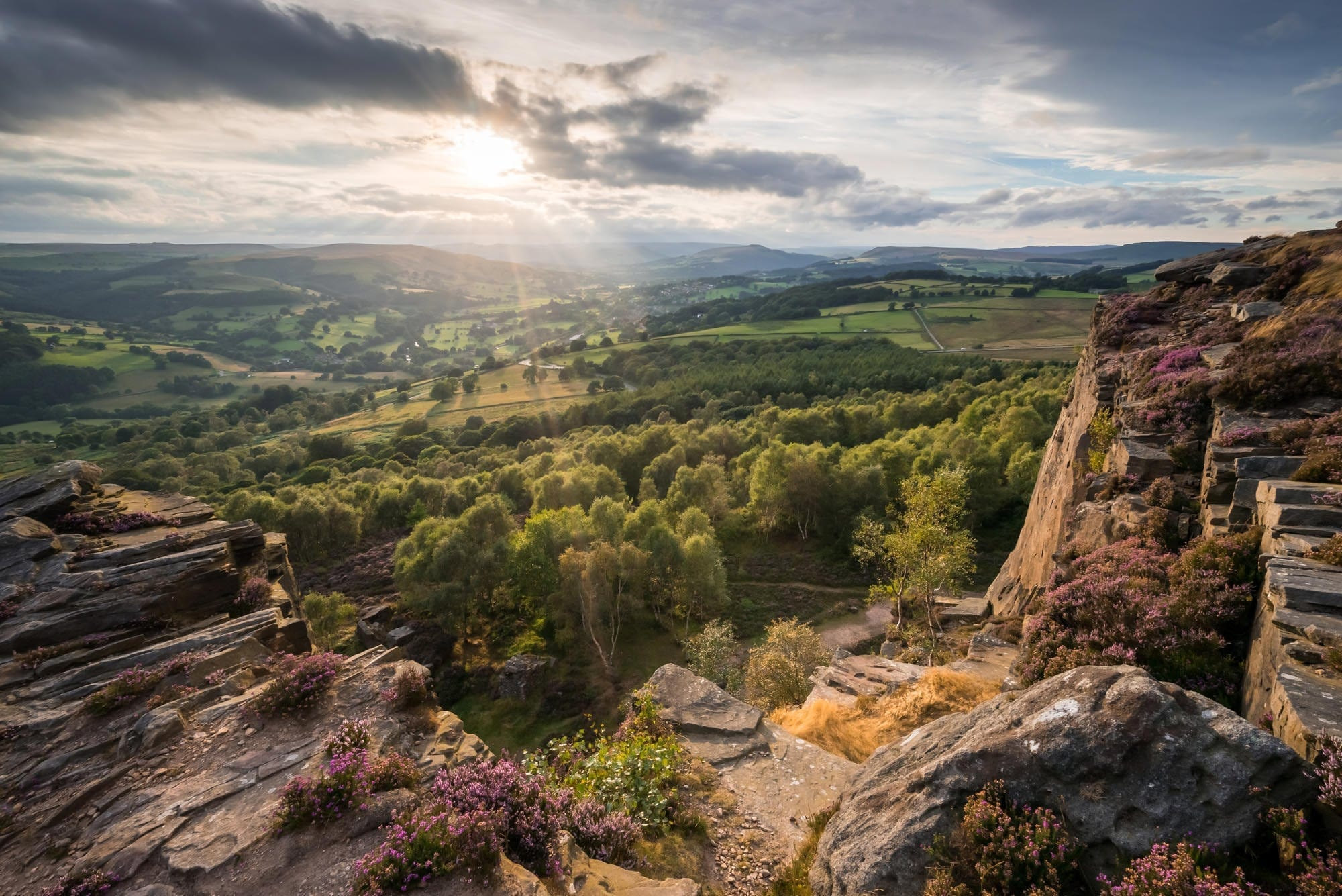 Millstone Edge Sunset - Heather in the Peak District Photography Workshop