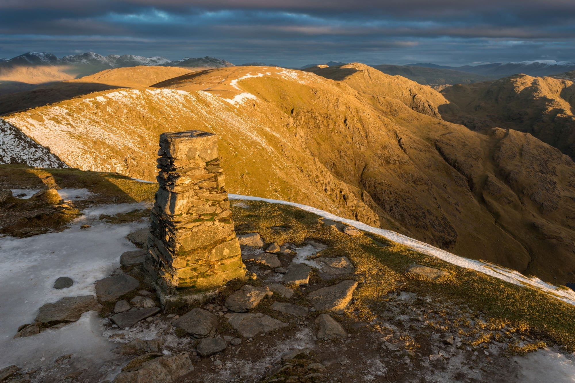 Old Man Of Coniston Trig Point Sunrise - Lake District Photography