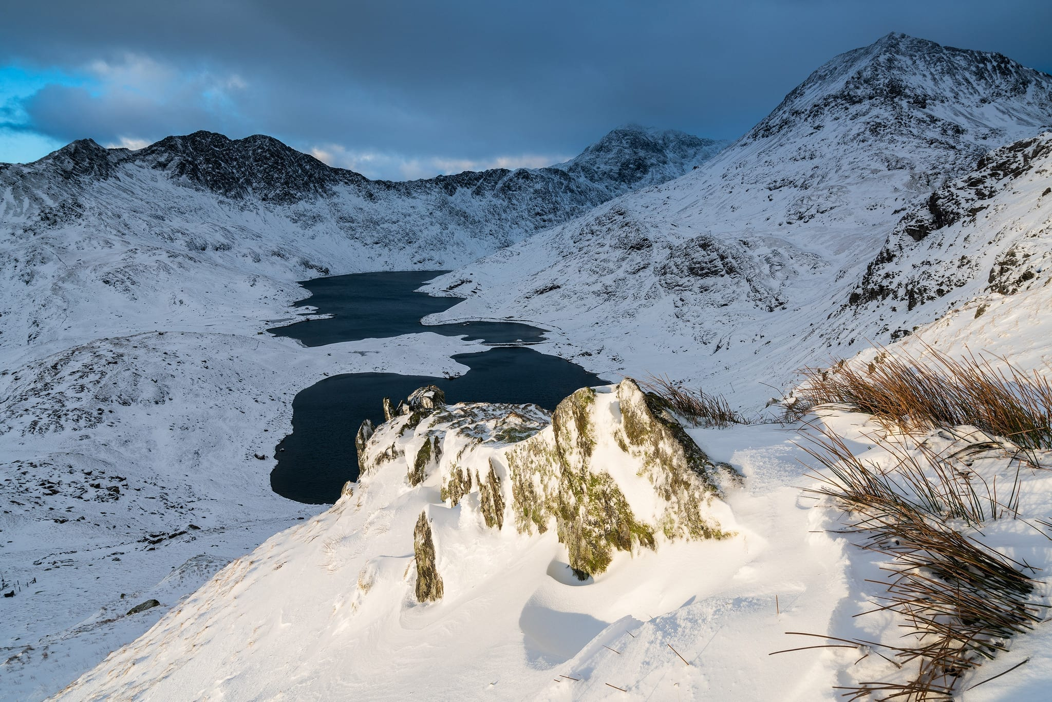 Snowdon Horns Sunrise in the Snow - Snowdonia Landscape Photography
