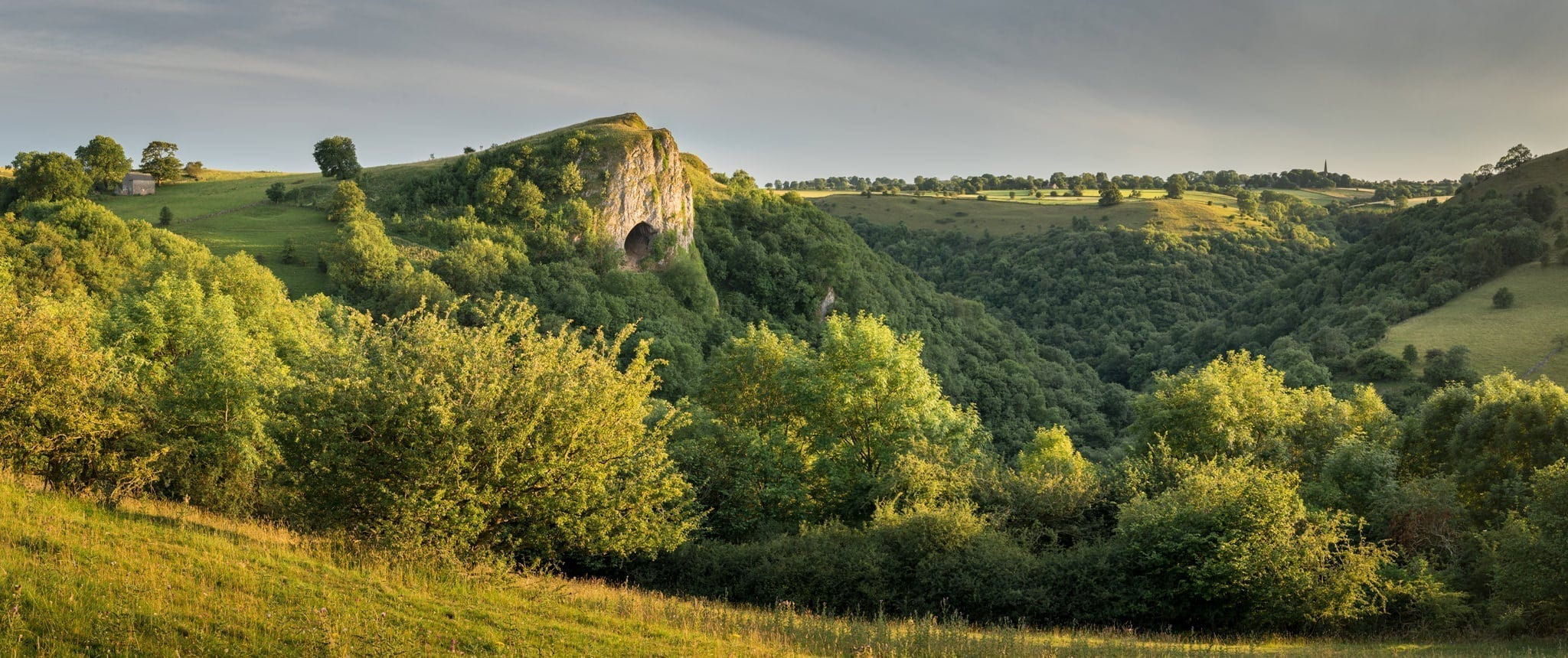 Thors Cave Sunset Panoramic - South Peak District Limestone Photography Workshop