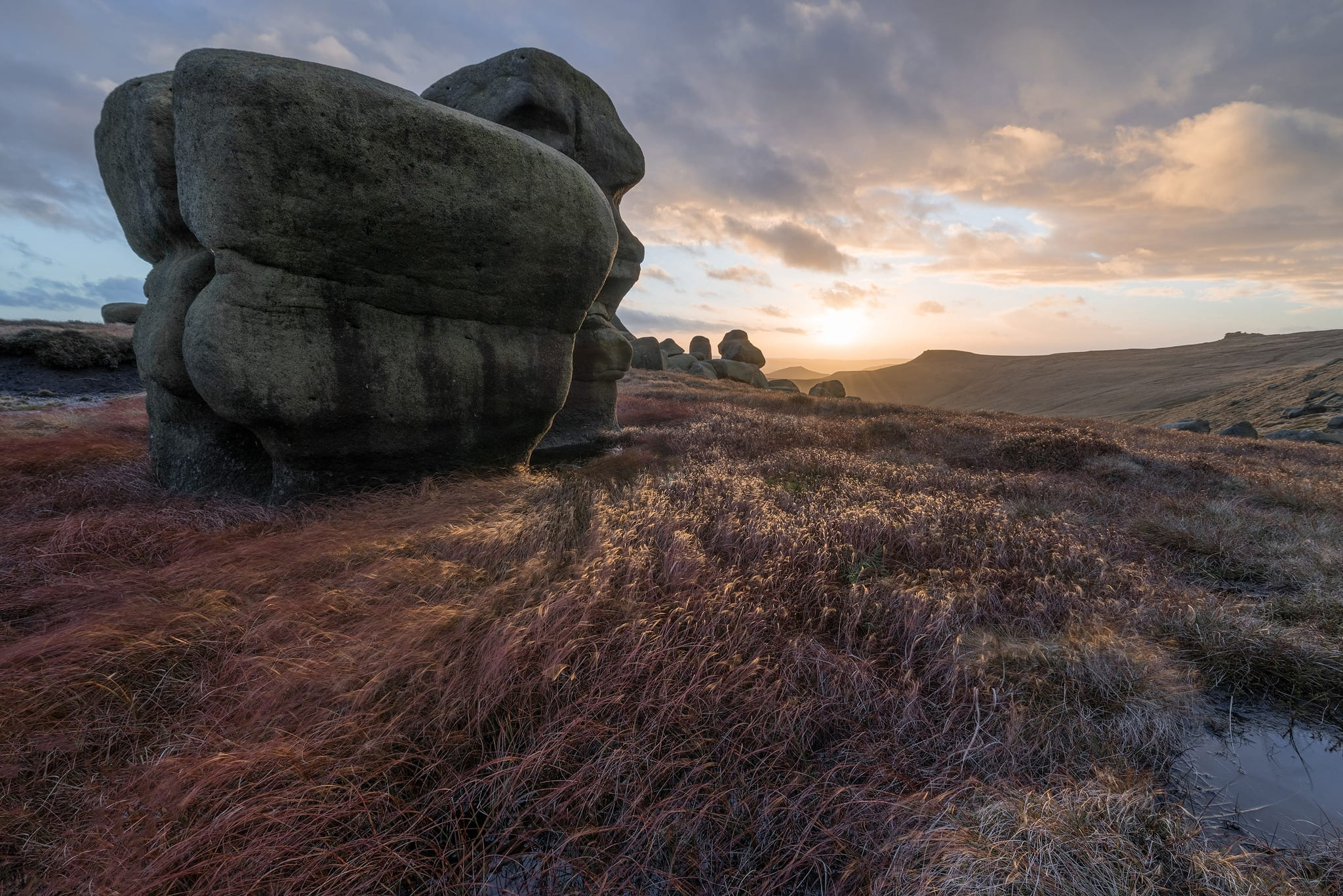 Wool Packs on Kinder at Sunset - Peak District Photography