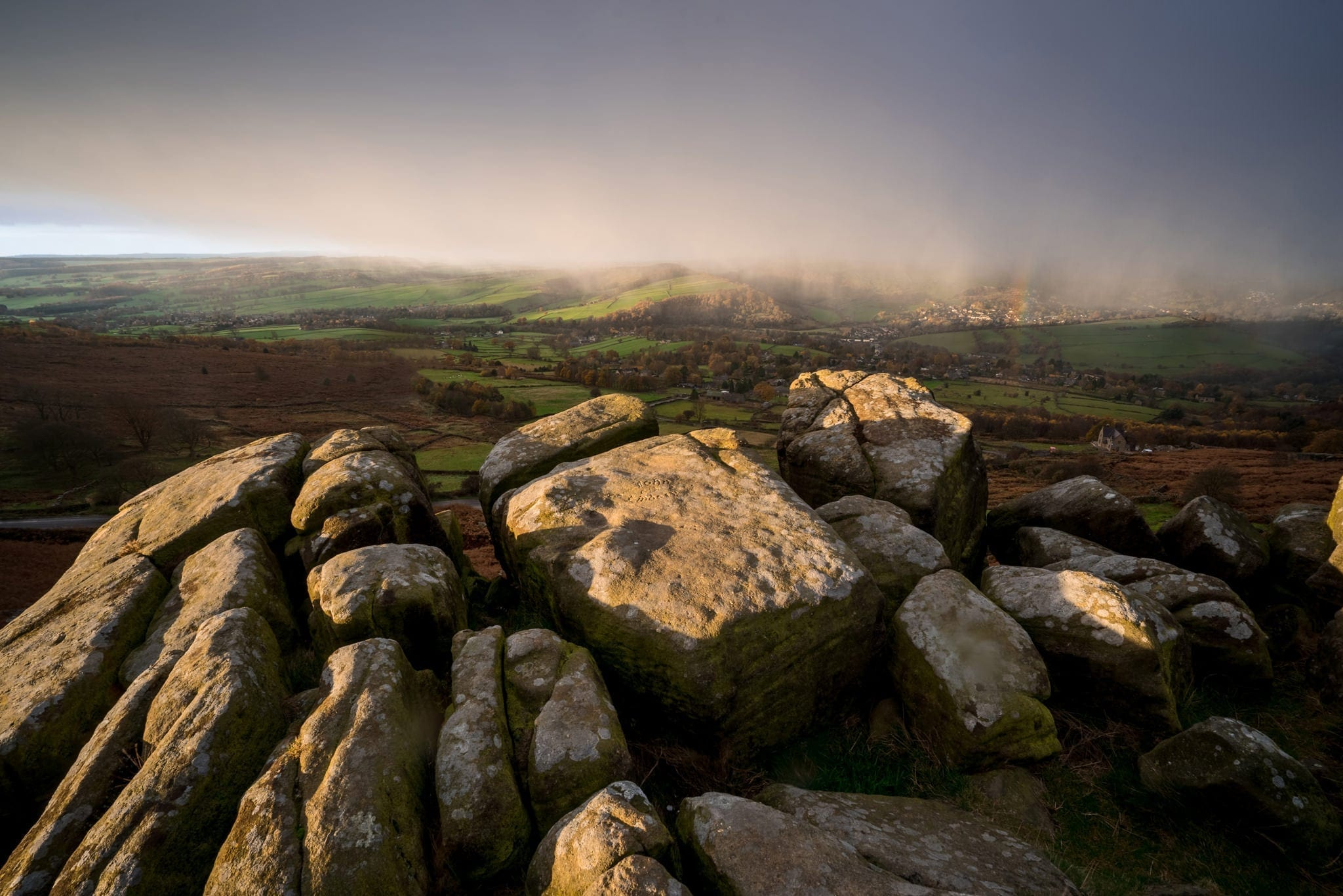 Curbar Edge Rainbow - Peak District Photography Winter Workshop
