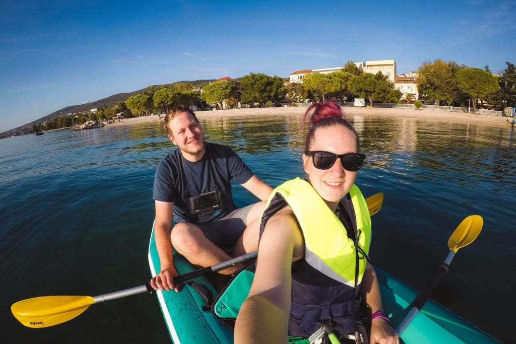 Kayaking near Senj in Croatia