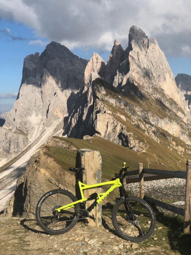 What a view. Seceda with my mountain bike in front.