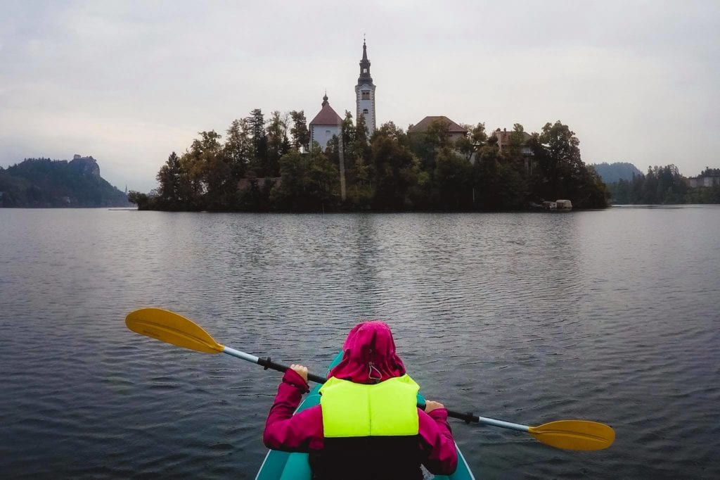 Kayaking on Lake Bled